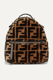 Mini leather-trimmed printed shearling backpack