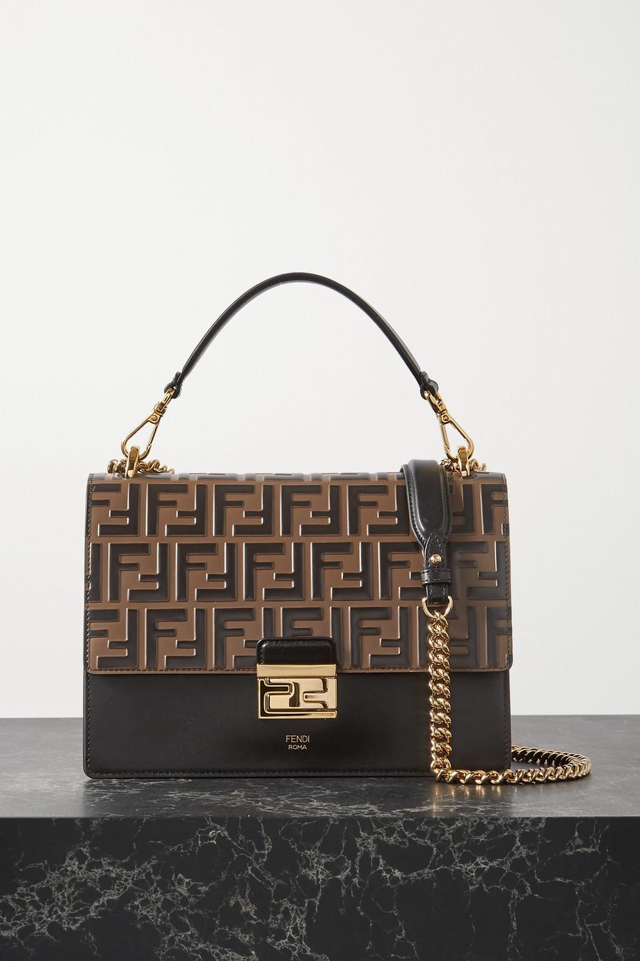 Fendi Kan I large embossed leather shoulder bag