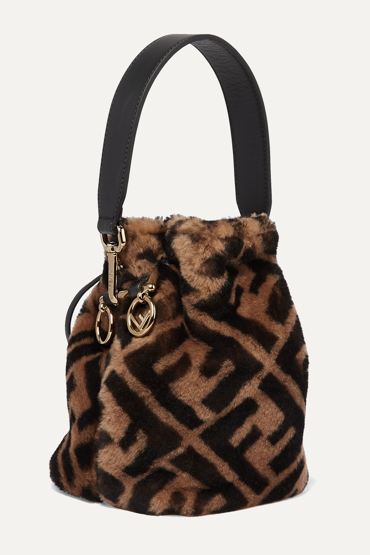 Fendi Mon Trésor mini leather-trimmed shearling bucket bag
