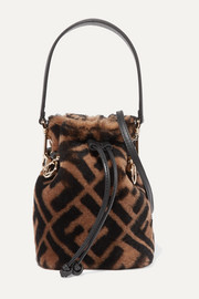 Mon Trésor mini leather-trimmed shearling bucket bag