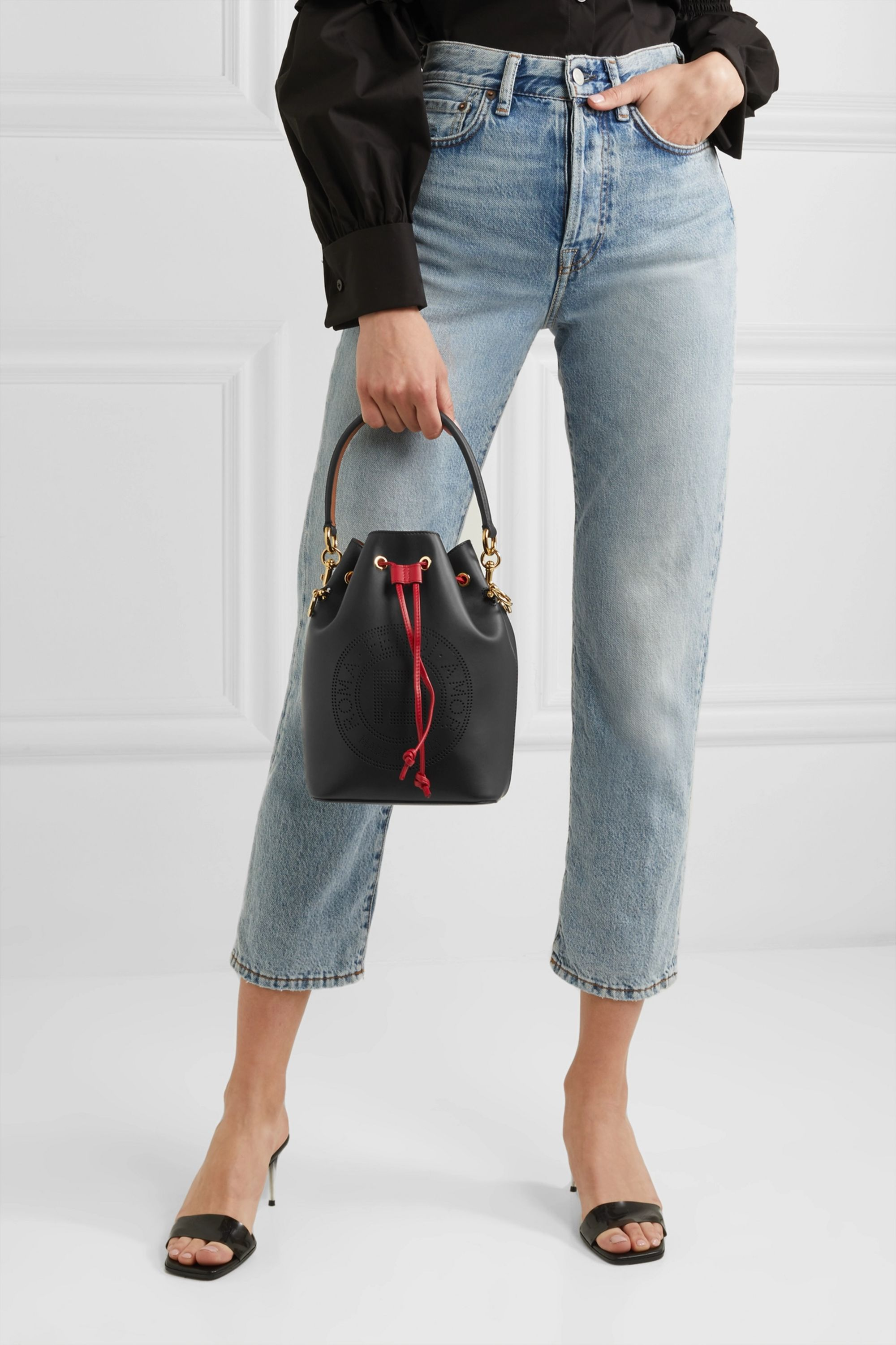 Fendi Mon Trésor perforated leather bucket bag