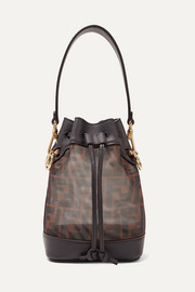Fendi Mon Trésor mini printed mesh and leather bucket bag