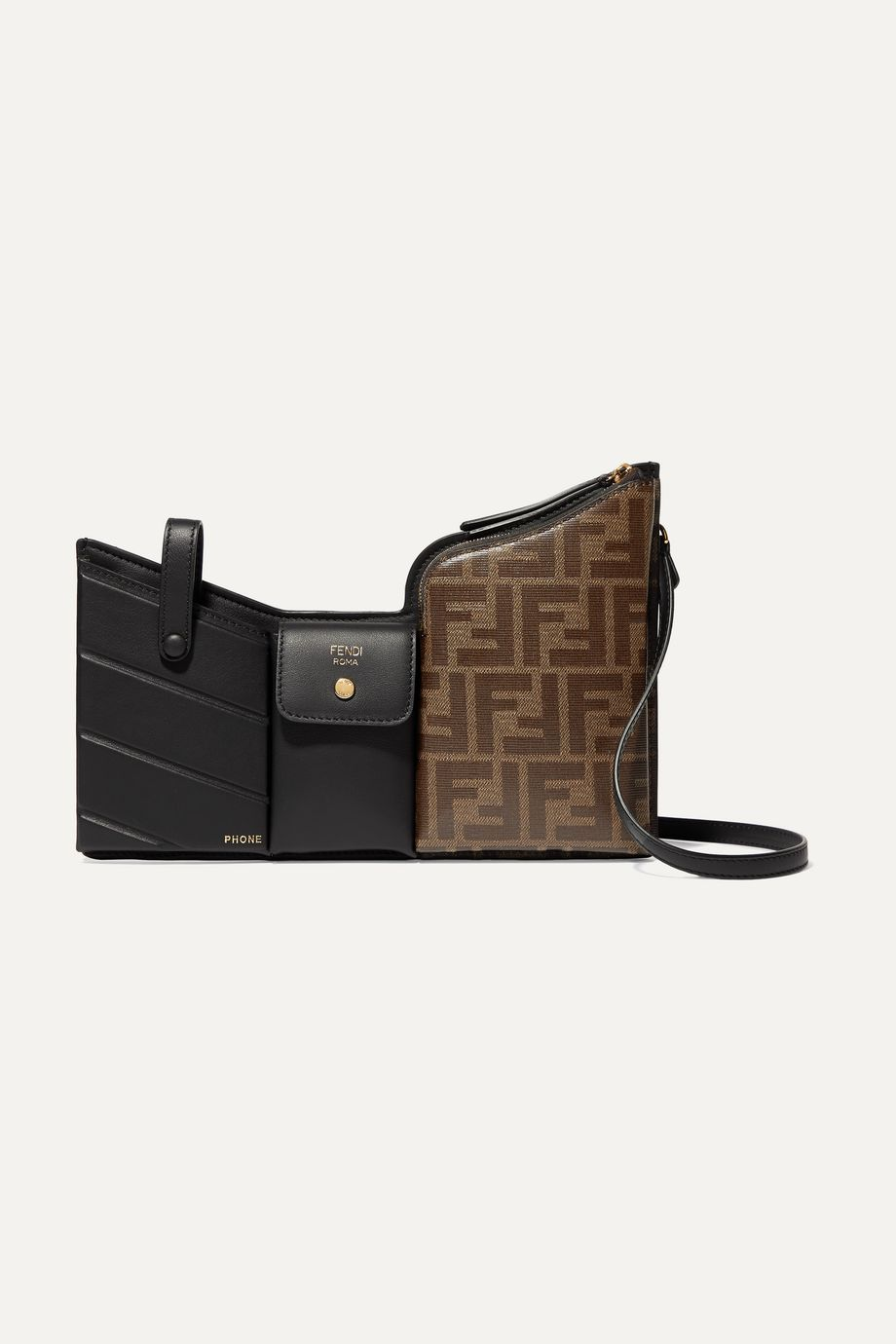 Fendi Embossed leather and printed coated-canvas shoulder bag