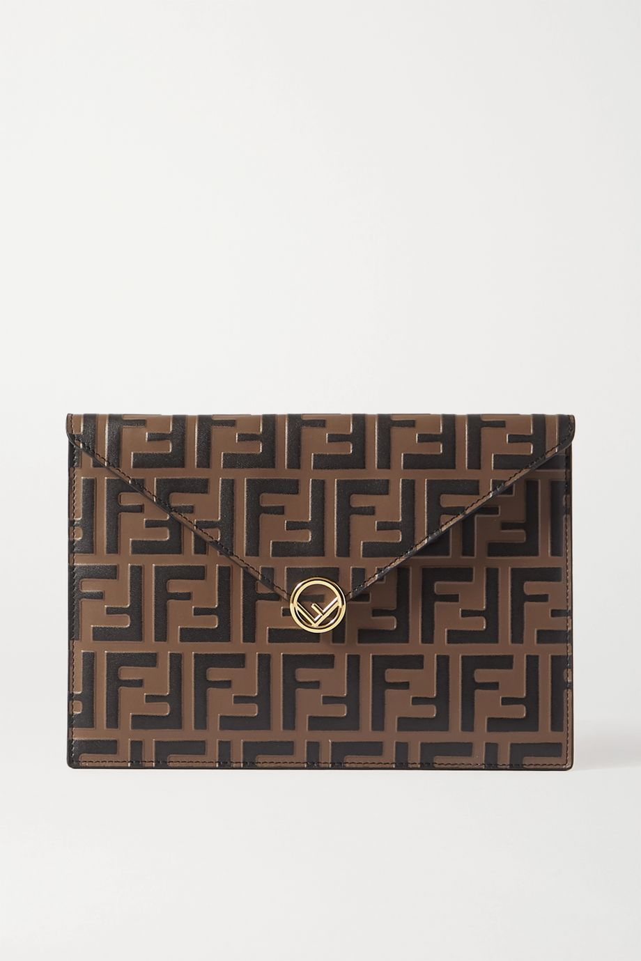 Fendi Embossed smooth and textured-leather pouch