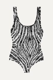 Versace Zebra-print stretch-lace thong bodysuit