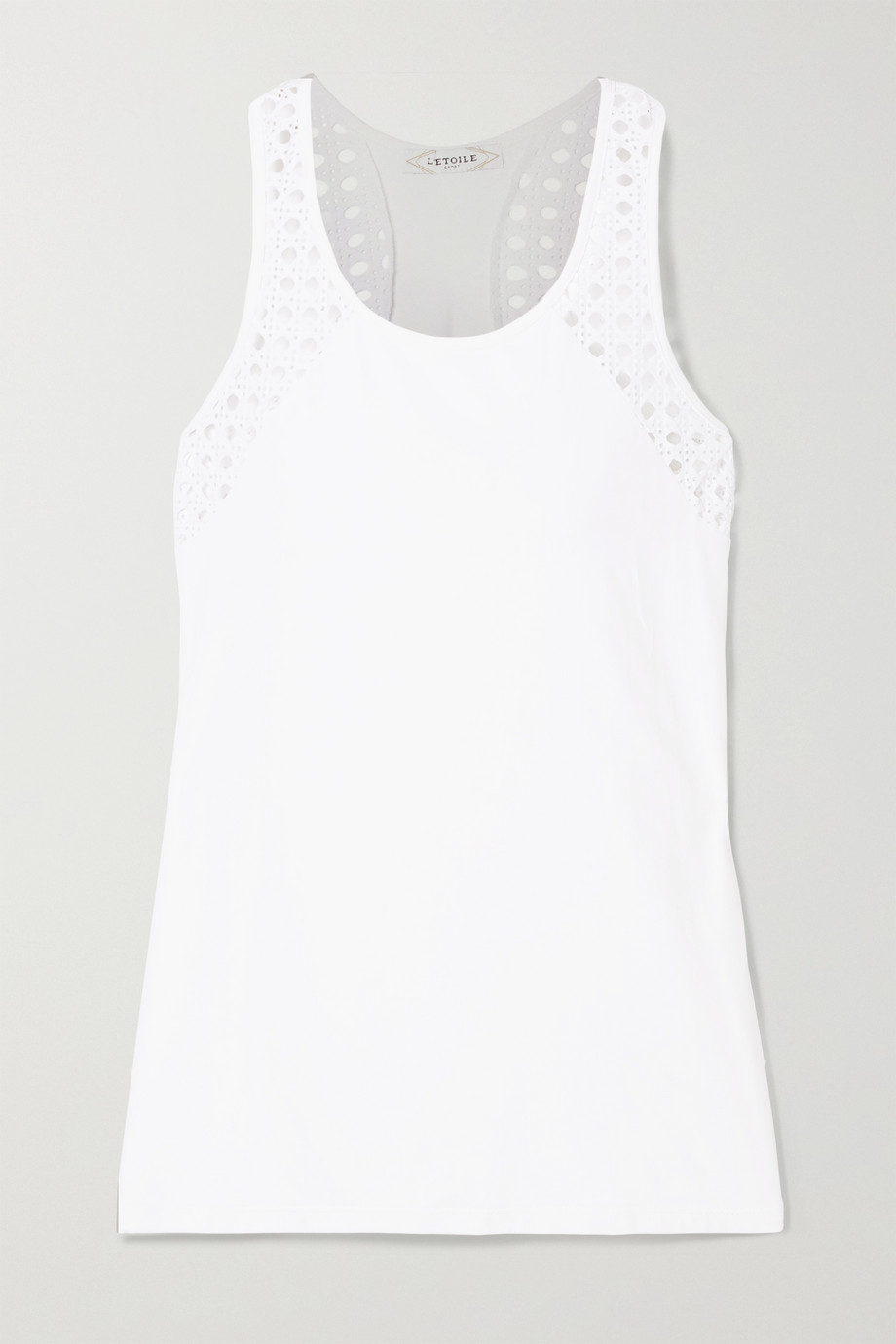 L'Etoile Sport Pointelle-knit and stretch-jersey tank