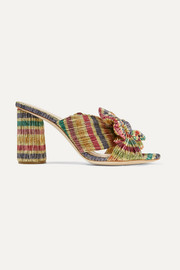 Penny bow-embellished striped plissé-lamé mules