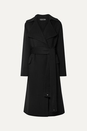 TOM FORD Belted leather-trimmed cashmere coat