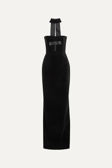 Tom Ford Dress Bow-detailed cutout cotton-velvet gown