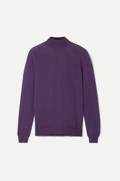 TOM FORD | TOM FORD - Cashmere And Silk-Blend Turtleneck Sweater - Grape | Goxip
