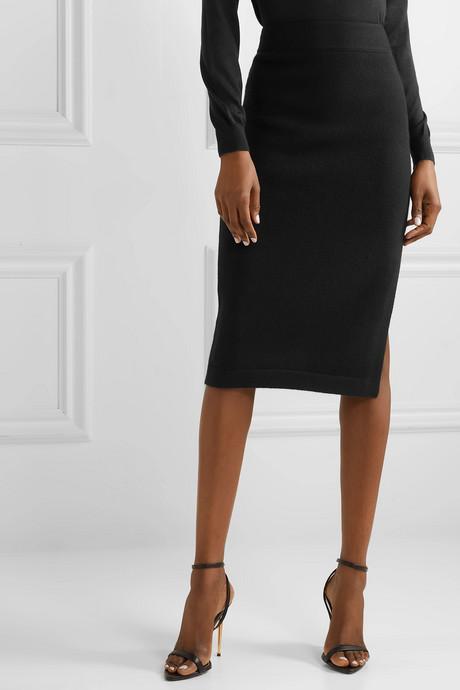 Ribbed cashmere-blend pencil skirt