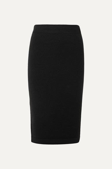TOM FORD | TOM FORD - Ribbed Cashmere-Blend Pencil Skirt - Black | Goxip