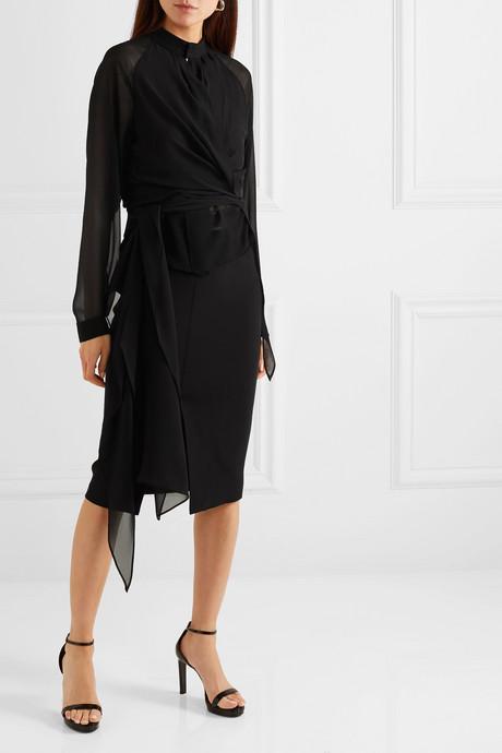 Silk-georgette wrap blouse
