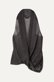 TOM FORD Wrap-effect draped Lurex top