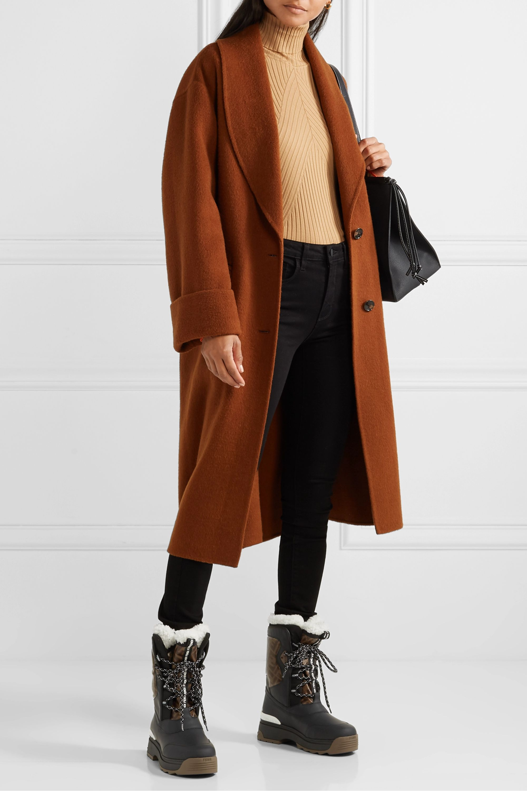 Fendi T-Rex shearling-lined logo-print coated canvas and leather ankle boots