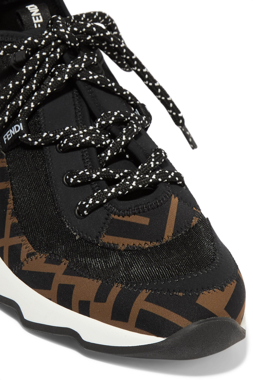 Fendi Freedom logo-print appliquéd neoprene and mesh sneakers