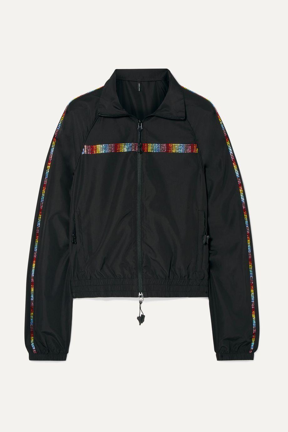 Adam Selman Sport Crystal-embellished shell track jacket