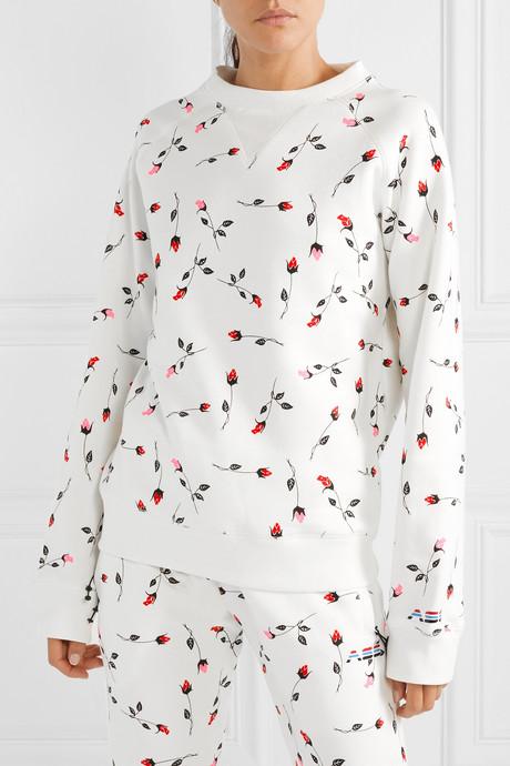 Floral-print cotton-blend fleece sweatshirt