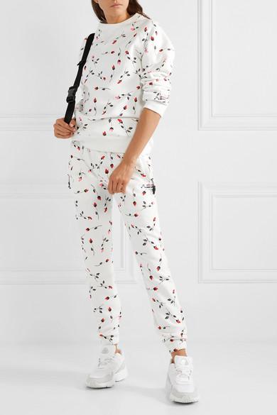 Floral Print Cotton Blend Fleece Sweatshirt by Adam Selman Sport