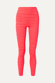 Paneled neon stretch-mesh leggings
