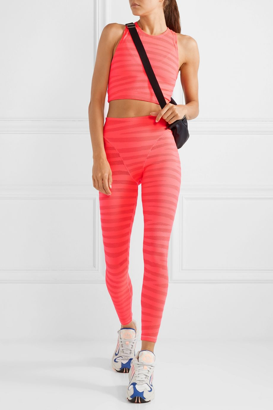 Adam Selman Sport Paneled neon stretch-mesh leggings
