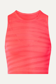 Racer cropped paneled neon stretch-mesh top
