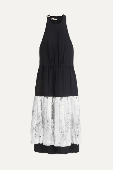 Tibi 'claude' Sequin Panel Halterneck Silk Chiffon Dress In Navy