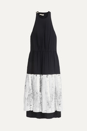 Tibi Claude silk-georgette and sequined cotton dress
