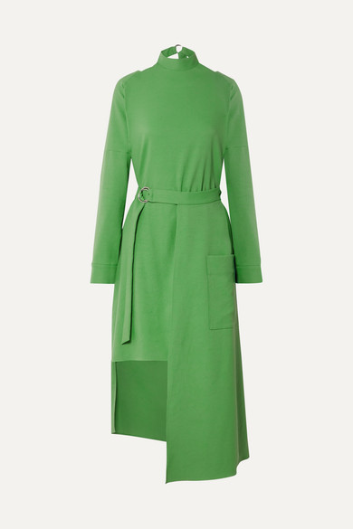 Tibi Chalky Drape Dress With Removable Apron In Basil Green