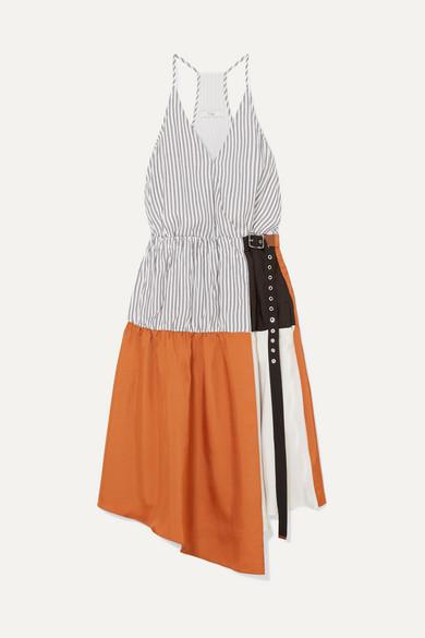 Tibi Camille Paneled Wrap-effect Tencel And Satin-twill Dress In Orange