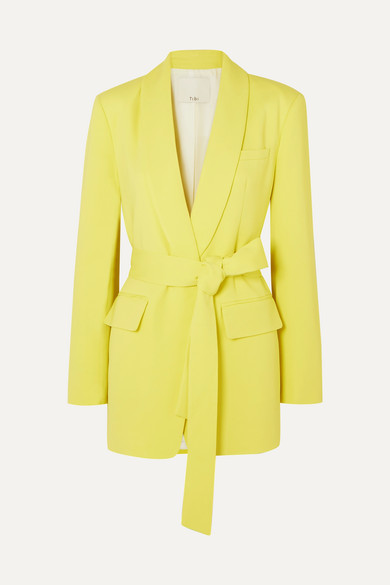 Tibi Belted Cady Blazer In Yellow