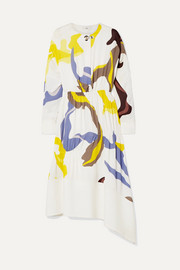 Tibi Asymmetric paneled printed crepe midi dress