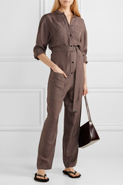 Walden belted checked cupro jumpsuit