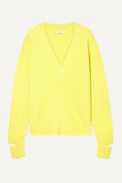 Tibi V-neck Pullover Sweater With Arm Band Cuffs In Yellow