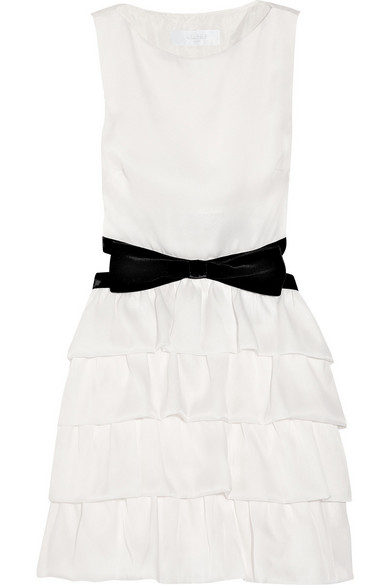 Azzaro - Tiered Silk-organza And Velvet Dress - White