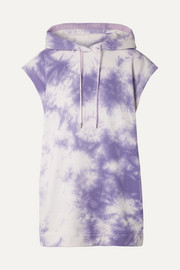Ninety Percent Oversized hooded tie-dyed organic cotton-terry mini dress