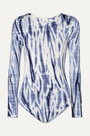 Ninety Percent + NET SUSTAIN open-back tie-dyed stretch-Tencel bodysuit
