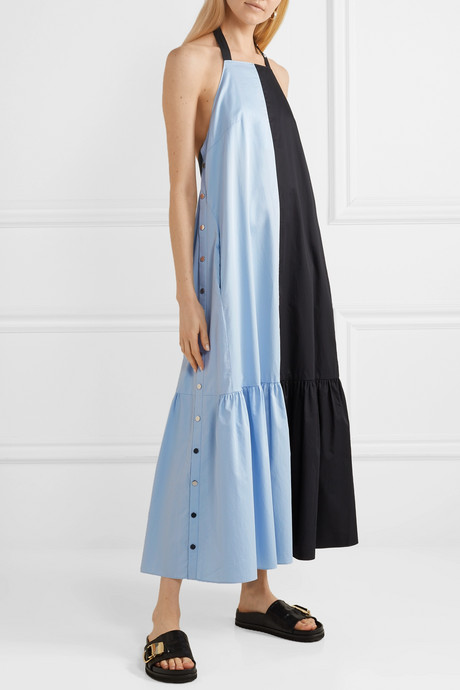 Two-tone coated cotton-poplin halterneck midi dress