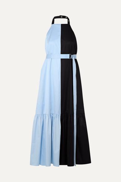 TIBI | Tibi - Two-Tone Coated Cotton-Poplin Halterneck Midi Dress - Midnight Blue | Goxip
