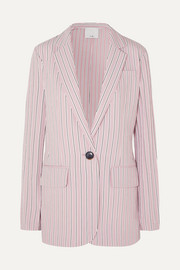 Oversized striped twill blazer