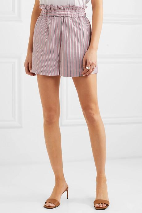 Striped twill shorts
