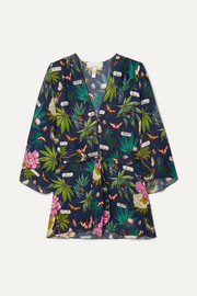 Angel floral-print silk-charmeuse robe