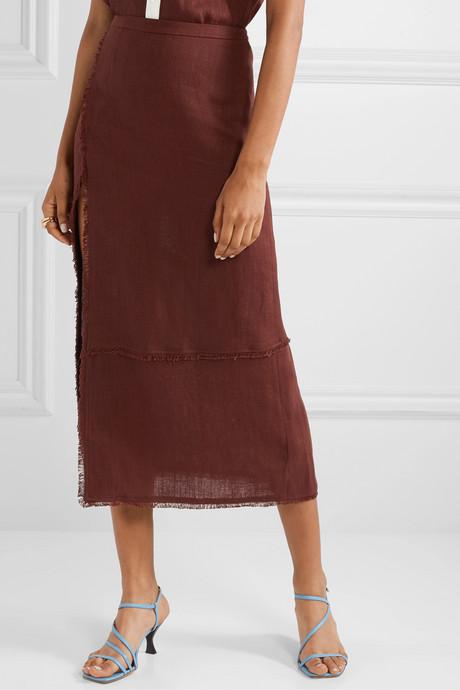 Carmela frayed linen midi skirt