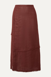 STAUD Carmela frayed linen midi skirt