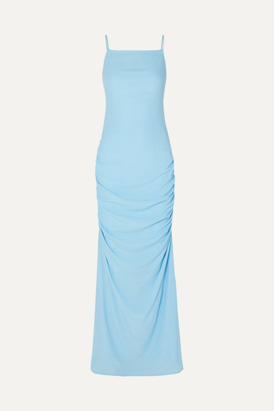 Parrot Cutout Ruched Crepe De Chine Maxi Dress by Staud