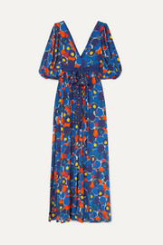 STAUD Affogato printed crepe de chine maxi dress
