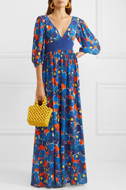 Affogato printed crepe de chine maxi dress