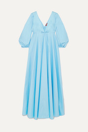 STAUD Amaretti pleated cotton-blend poplin maxi dress