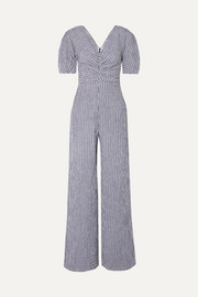 STAUD Fraise gingham stretch-seersucker jumpsuit