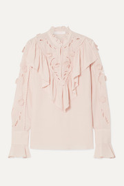 See By Chloé Ruffled broderie anglaise crepe de chine blouse